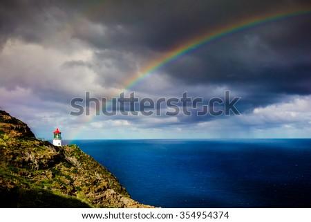 Makapu'u Lighthouse with Rainbow - stock photo