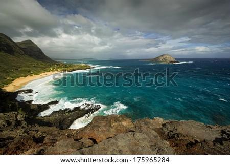 Makapuu Beach from lookout,Oahu, Hawaii - stock photo