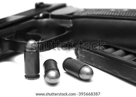 makarov system pistol disassembled isolated on white background