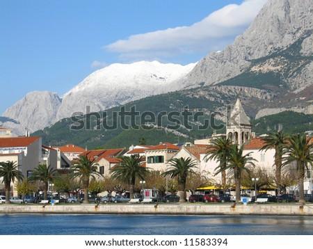 Makarska landscape with mountain Biokovo in the back - stock photo