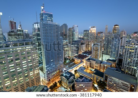 Makati City Skyline. Makati City is one of the most developed business district of Metro Manila and the entire Philippines.  - stock photo