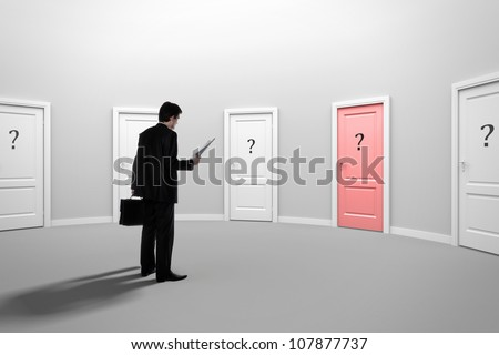 Make a decision. Choose a job. Be interviewed. Recruitment. Achieving the goal. Cease to be unemployed. Due to bureaucracy. With question marks on the red doors.