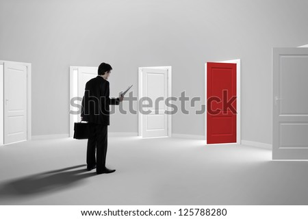 Make a decision. Choose a job. Be interviewed. Recruitment. Achieving the goal. Cease to be unemployed. Due to bureaucracy. With a single red door open - stock photo
