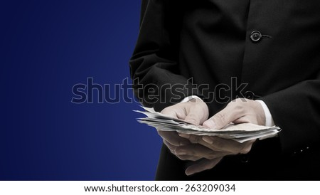 Make money concept, Count of thailand banknote money - stock photo