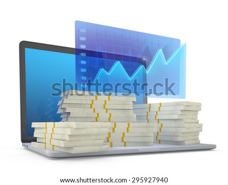 Make money on line concept. Laptop with financial graph. (3D Render) - stock photo