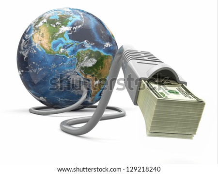 Make money online. Concept. Earth and internet cable with money. 3d Elements of this image furnished by NASA - stock photo