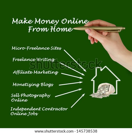 Make money online from home - stock photo