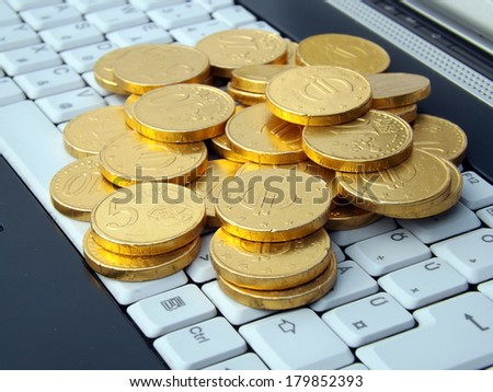 Make Money Online , White Keyboard and Gold Coins