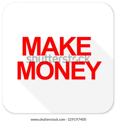 make money red flat icon with long shadow on white background