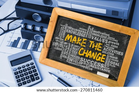 make the change concept with related word cloud hand drawing on blackboard - stock photo