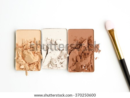 make up accessories on white background - stock photo