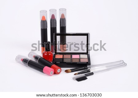 Make-up accessory for woman on white background.