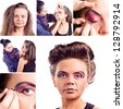 make up artist applying make up on woman, saved clipping path - stock photo
