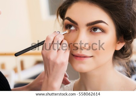 Make Up Artist Doing Make Up Beautiful Girl In The Salon, Beauty Concept
