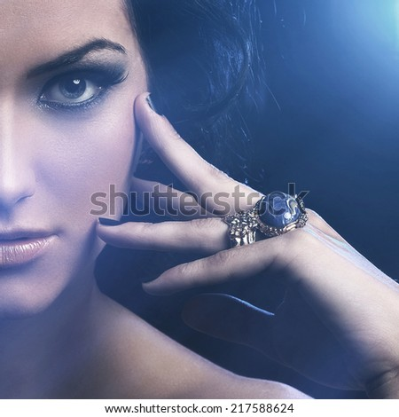 Make-up. Attractive girl with beautiful face - stock photo