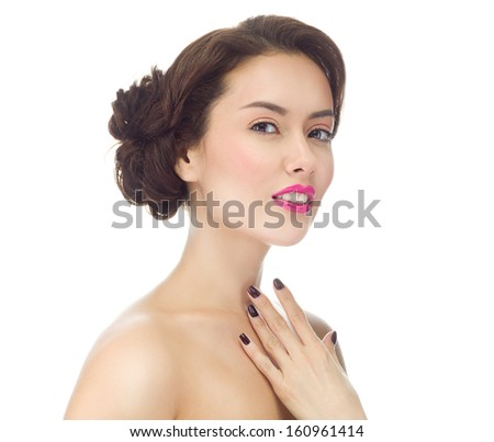 make up , beauty woman face,  portrait of attractive young caucasian girl brunette , close up , isolated on white , studio shot , head and shoulders, looking at camera, eyes, lips; hand - stock photo