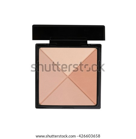 Make-up brown powder in black box isolated on white - stock photo