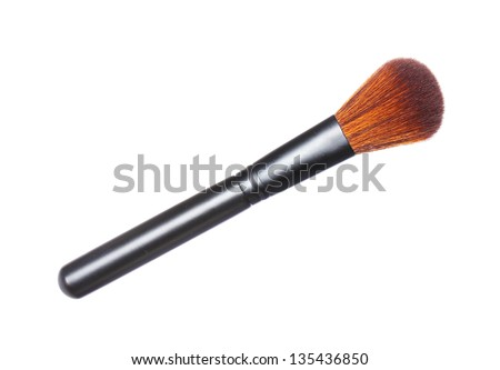 make up brush powder blusher isolated on white background - stock photo