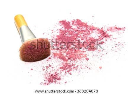 Make up brush with pink powder isolated on white background