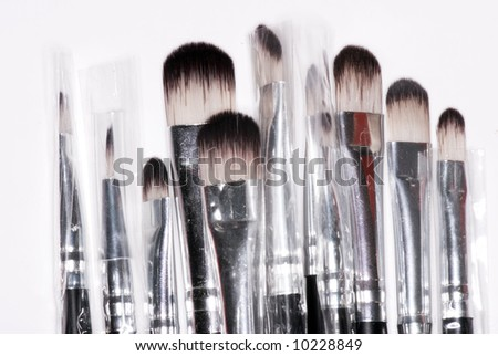 Make-up brushes isolated on white background