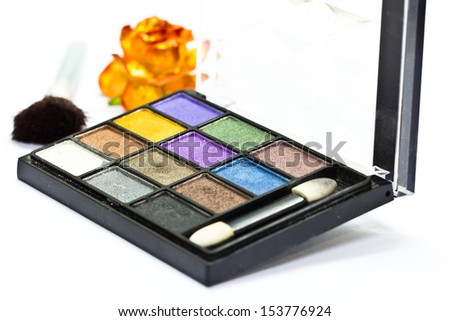 Make-up collage on white background - stock photo