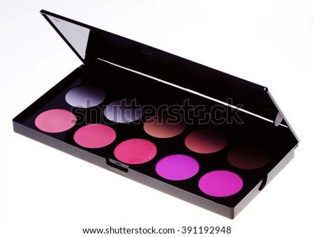 make-up collection. studio shot. - stock photo