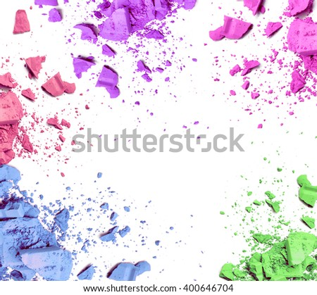 Make-up color frame on white background - stock photo