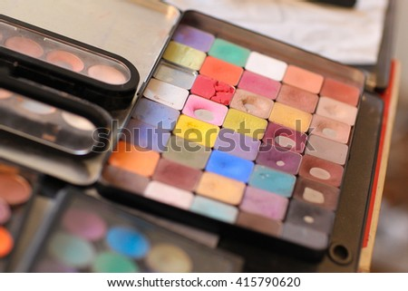 make up color pallette - stock photo