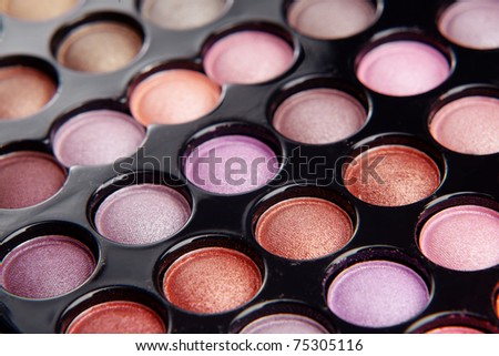Make-up colorful eyeshadow palette closeup - stock photo
