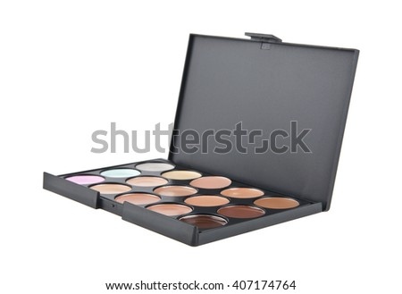 Make-up colorful eyeshadow palettes isolated on white background