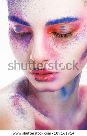 make-up colour paint painting, cosmetics, skin, beauty - stock photo