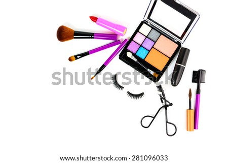 Make up cosmetic and brushes isolated on white background