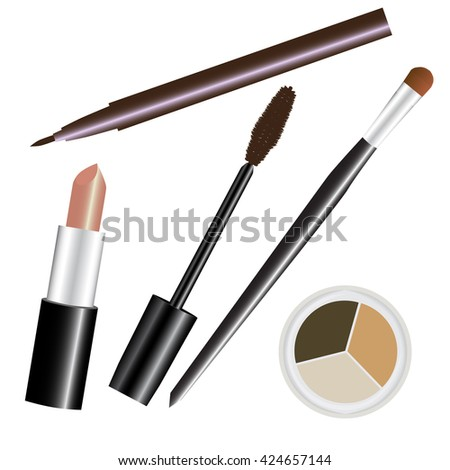 make-up cosmetic set nude brown raster illustration