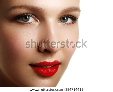 Make-up & cosmetics. Closeup portrait of beautiful woman model face with clean skin on white background. Natural skincare beauty, clean soft skin. Spa treatment