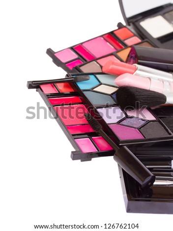 Make up cosmetics  isolated on white background - stock photo