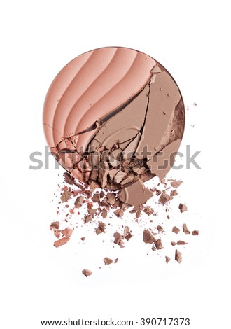 Make up crushed powder on white background