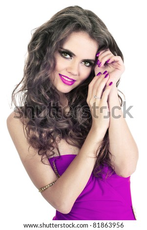 Make up of beauty young lady with care hands with purple nails - stock photo