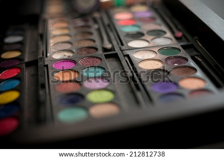 Make-up palettes close up - stock photo