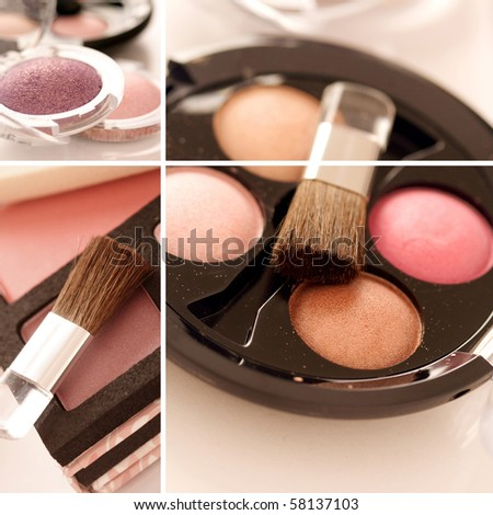 make-up products collage - stock photo