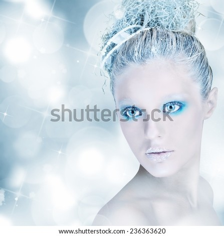 Make up sparkling silver and light blue - stock photo