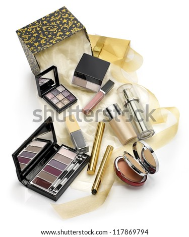 Make ups and cosmetics set gift - stock photo