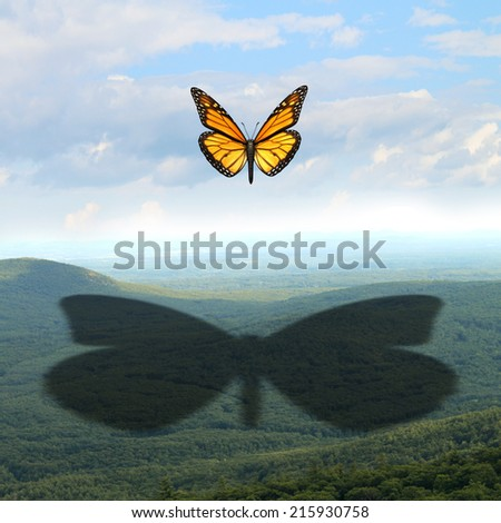 Make your mark and leave a big impression concept as a small butterfly in the sky casting a giant shadow on a vast landscape as a communication and marketing symbol for success in business and life. - stock photo
