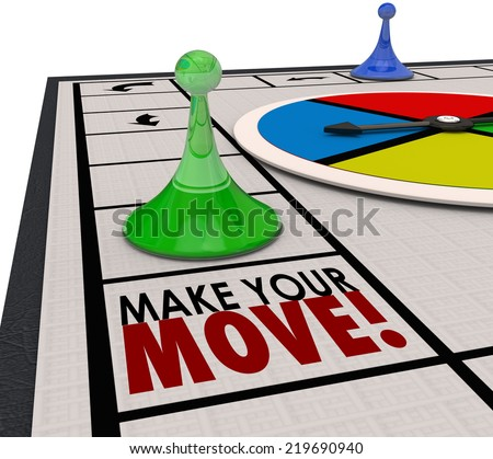 Make Your Move words on a board game and a piece moving forward to keep progress in competition - stock photo