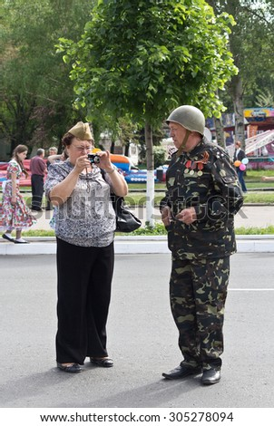 Makeevka, Ukraine - May, 9, 2012: Participants of the historical parade in honor of the victory in World War II - stock photo