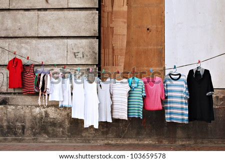 Makeshift Clothesline in Slums - stock photo