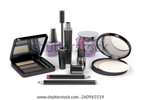 Makeup and cosmetic set with: eye shadow, face powder, lipstick, mascara, nail polish, cream, eye and lip liners - stock photo