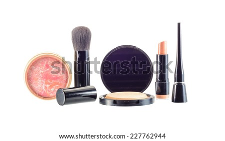 makeup  and cosmetics beauty isolated on white - stock photo
