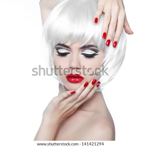 Makeup and Hairstyle. Red Lips and Manicured Nails. Fashion Beauty Girl isolated on white background. - stock photo