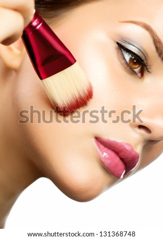Makeup Applying. Foundation for Perfect Makeup. Apply Make-up. Cosmetic. - stock photo