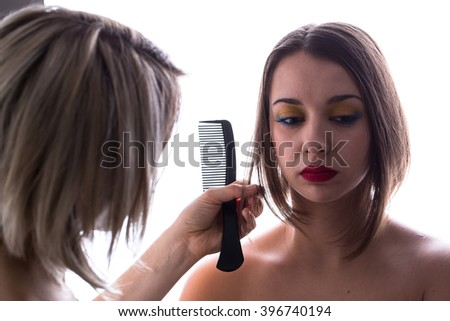 Makeup artist backstage